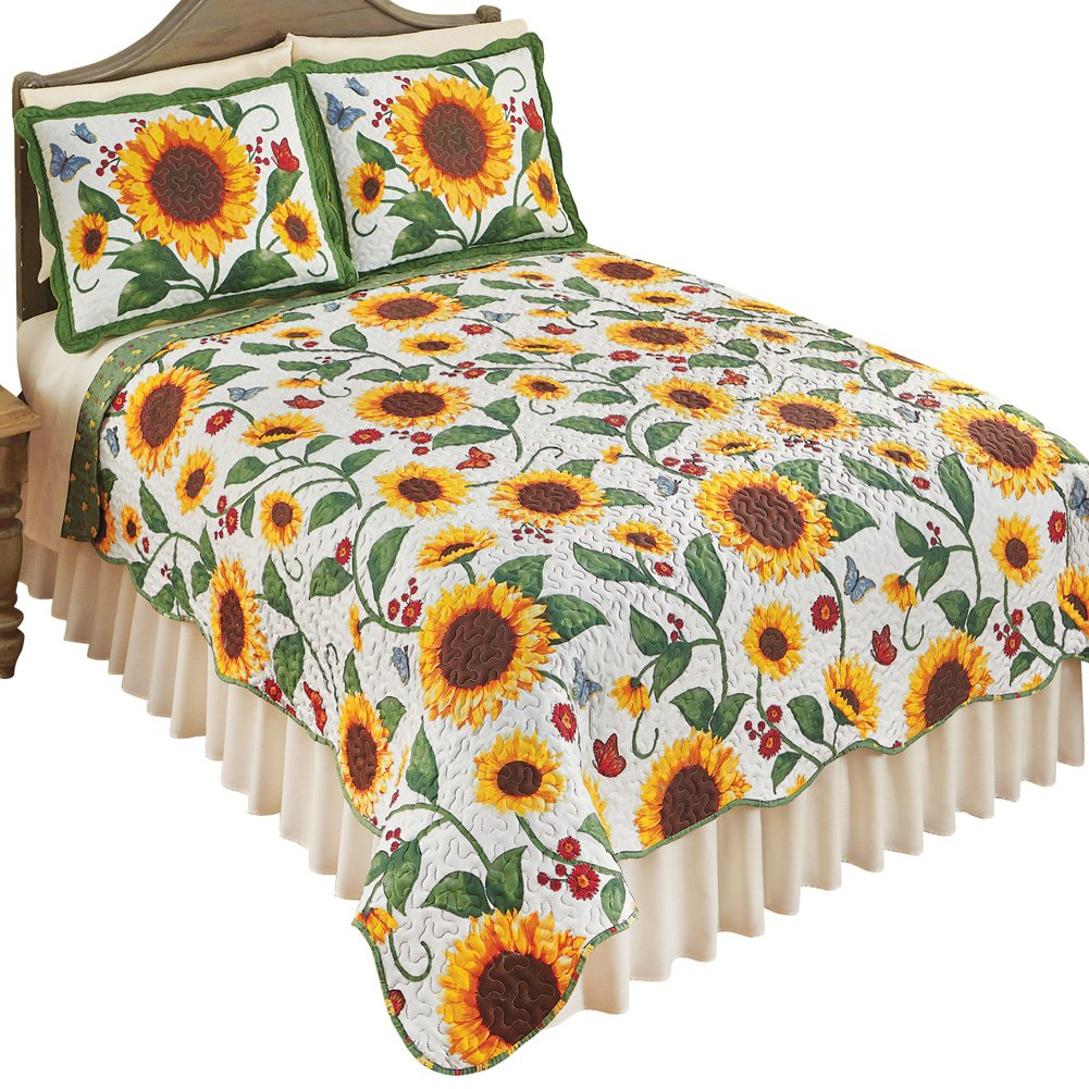 Reversible Sunflower & Butterflies Scalloped Edge Quilt Bedding Coverlet, Yellow Green, Twin Winston Brands