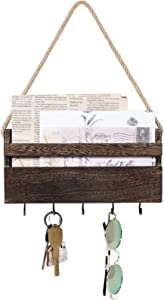 Dahey Rustic Mail Key Holder Wooden Mail Organizer Wall Mount with 5 Hooks Hanging Mail Sorter for Organizing Keys Mail and Other Small Objects Entryway Home Decor