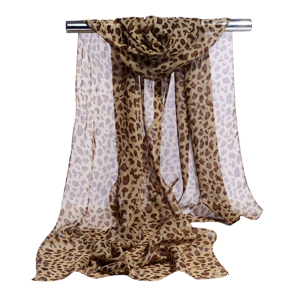 GERINLY Chiffon Scarves Animal Print Leopard Neck Wrap Sheer Scarf (Light Brown)