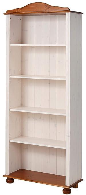 JASMIN Bookcase Shelf Wooden Large Bookshelf 5 Tier Open Solid Pine Wood Honey