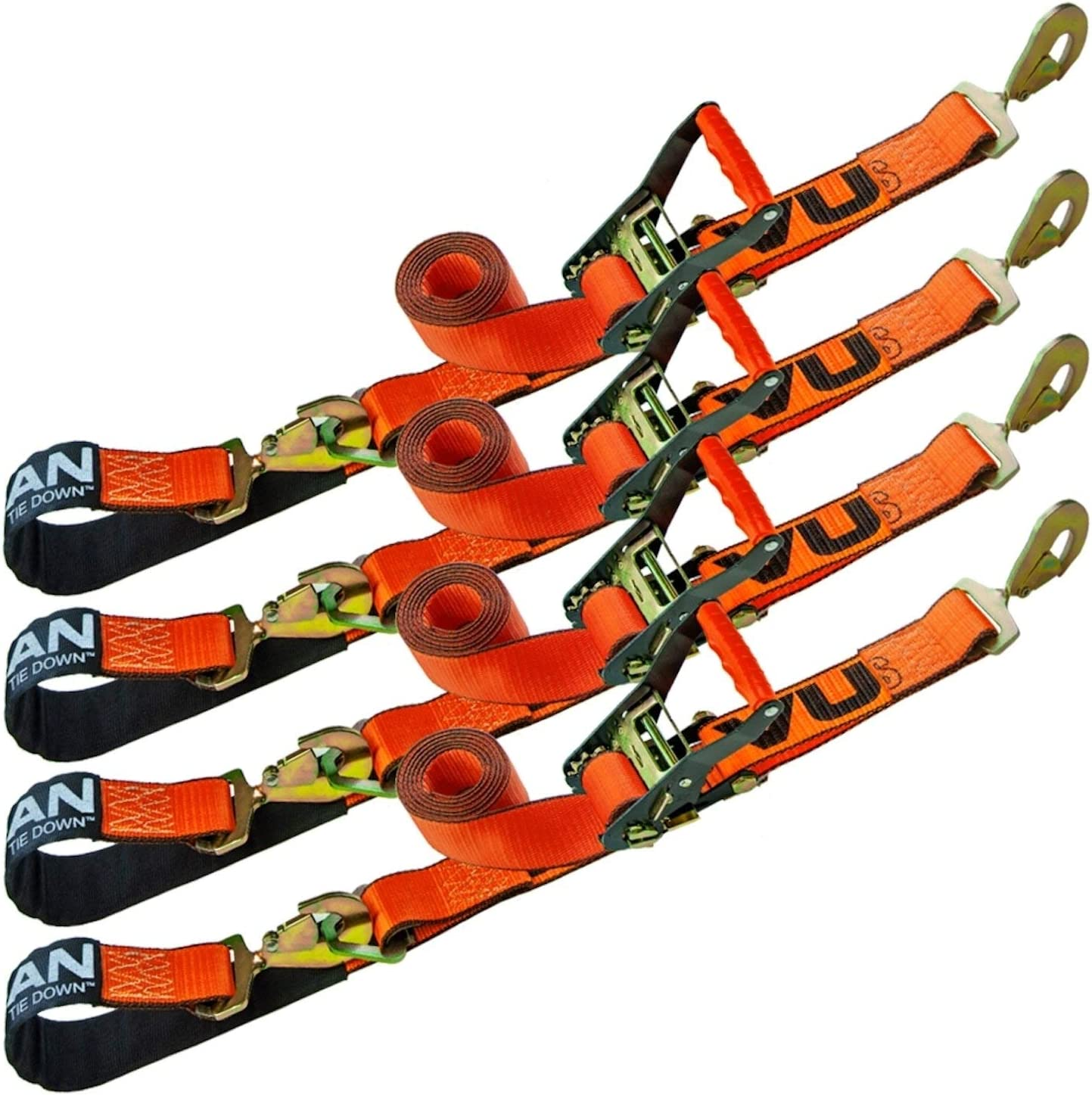 VULCAN Axle Tie Down Combo Strap with Snap Hook Ratchet - 2 Inch x 114 Inch, 4 Pack - PROSeries - 3,300 Pound Safe Working Load