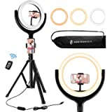 TaoTronics Ring Light with Tripod Stand 2 Phone Holders and Bluetooth Remote Shutter, 3 Lighting Modes, 10 Brightness…
