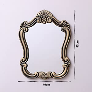 Kurtzy Vintage Style Home Decorative Wooden Vanity Wall Mirror Glass for Living Bathroom Bedroom