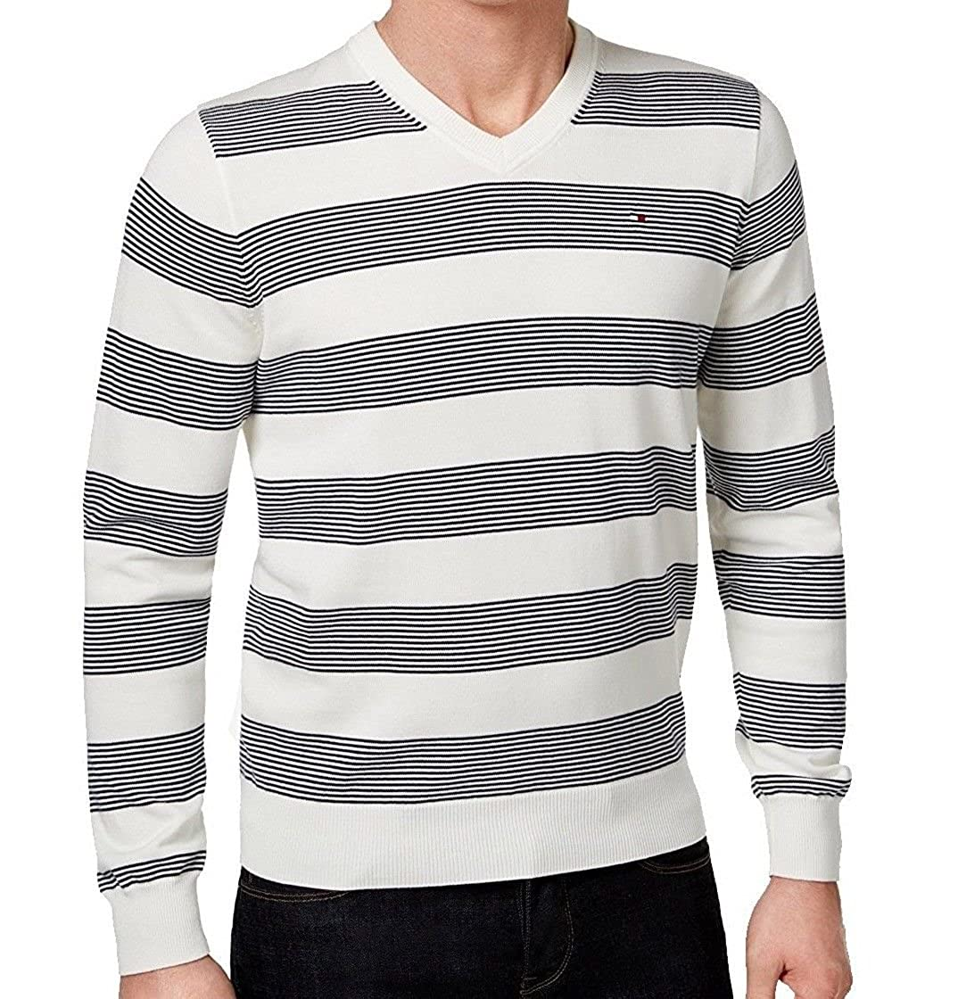 914a93c1 Tommy Hilfiger Men's Carrington V-Neck Striped Pullover Sweater (XXX-Large,  Heather Grey) at Amazon Men's Clothing store: