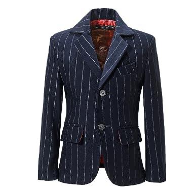 eb79ab7ea Amazon.com  Yuanlu Boys Jacket Formal 2 Button Pinstripe Dress Wear ...