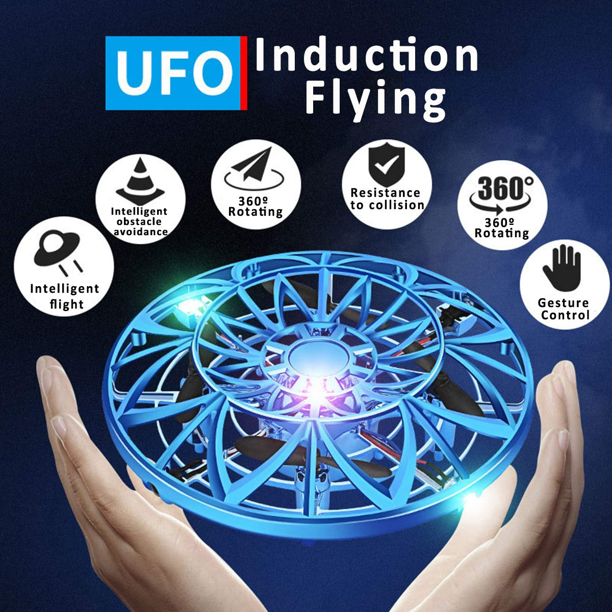 Flying Toy Ball Rc Toys Induction Flying Toy Mini Drones Helicopter Airplane with LED Lights Hand & Remote Controlled for 3+ Kids Girls Boys Indoor and Outdoor Gifts for Birthday (Flying Ball UFO) by HDsuit (Image #6)