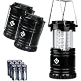 Etekcity 3 Pack Outdoor Portable LED Lantern Flashlights with 9 AA Batteries - Camping Survival Gear for Hiking, Emergencies, Hurricanes, Outages, Storms (Black, Collapsible)