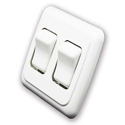 American Technology Components Double SPST On-Off Switch with Bezel, 12-Volt, for RV, Trailer, Camper (White): Automotive