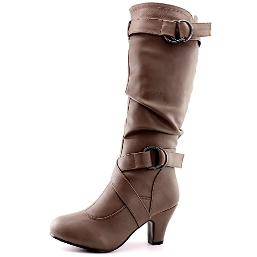 "Women's Slouchy Mid Calf Strappy Boots with Ankle and Top Straps - 2"" Heel Fashion Boots7.5 B(M) USTaupe Pu w/Side Pocket"