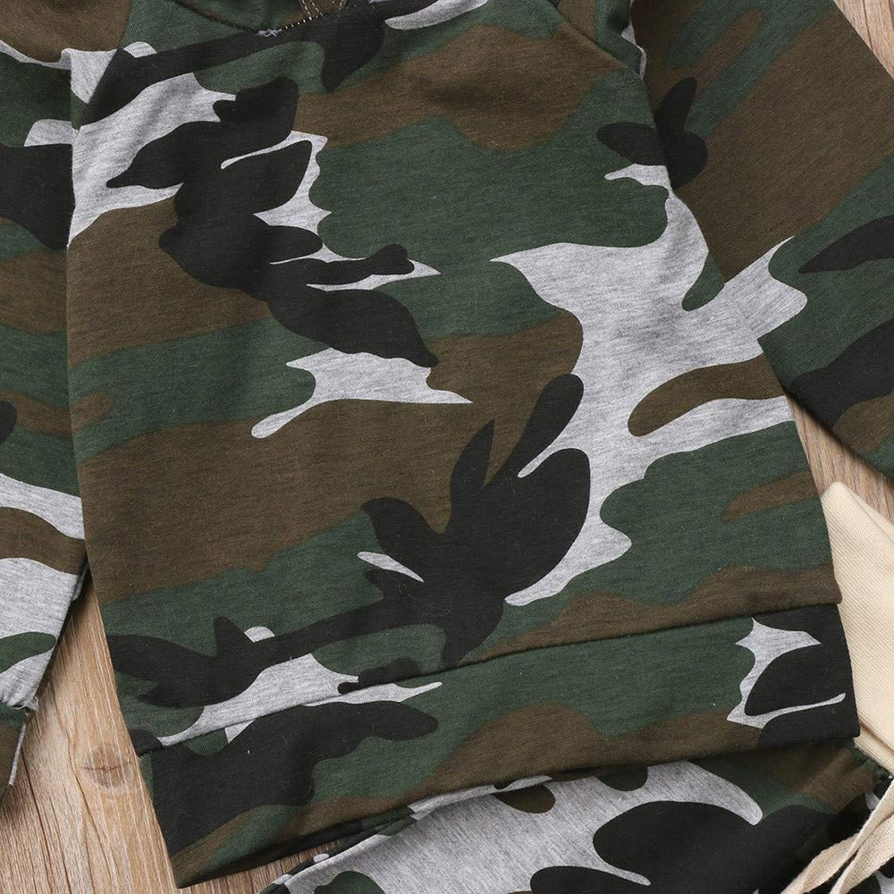 Toddler Infant Baby Boys Girls Camouflage Splice Top+Pants Hooded Outfits Set
