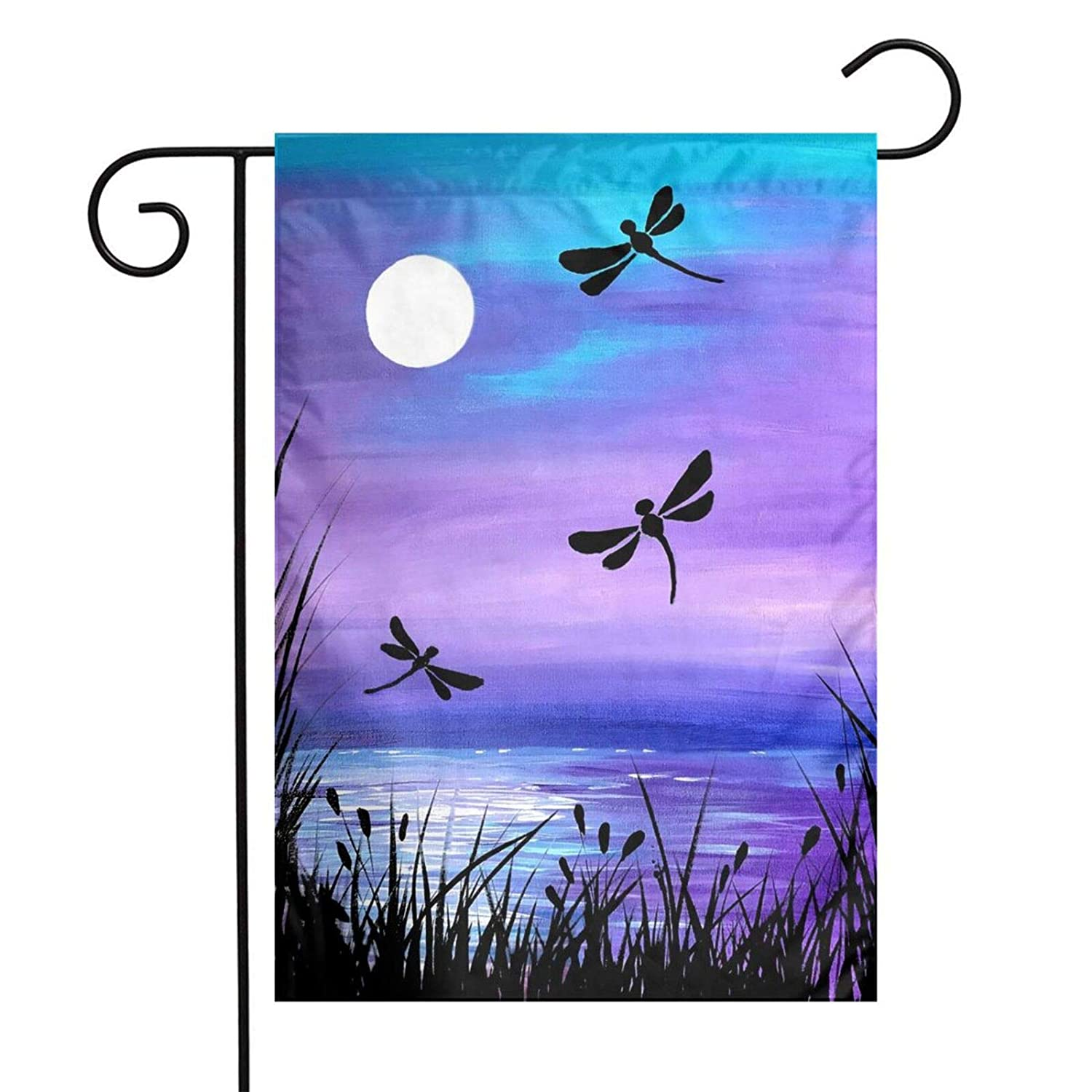 Lake Dragonfly Moon Outdoor Garden Welcome Flag, Double Sided Vertical Garden Yard Flag Banner for Lawn House Outside Decor 12x18inch