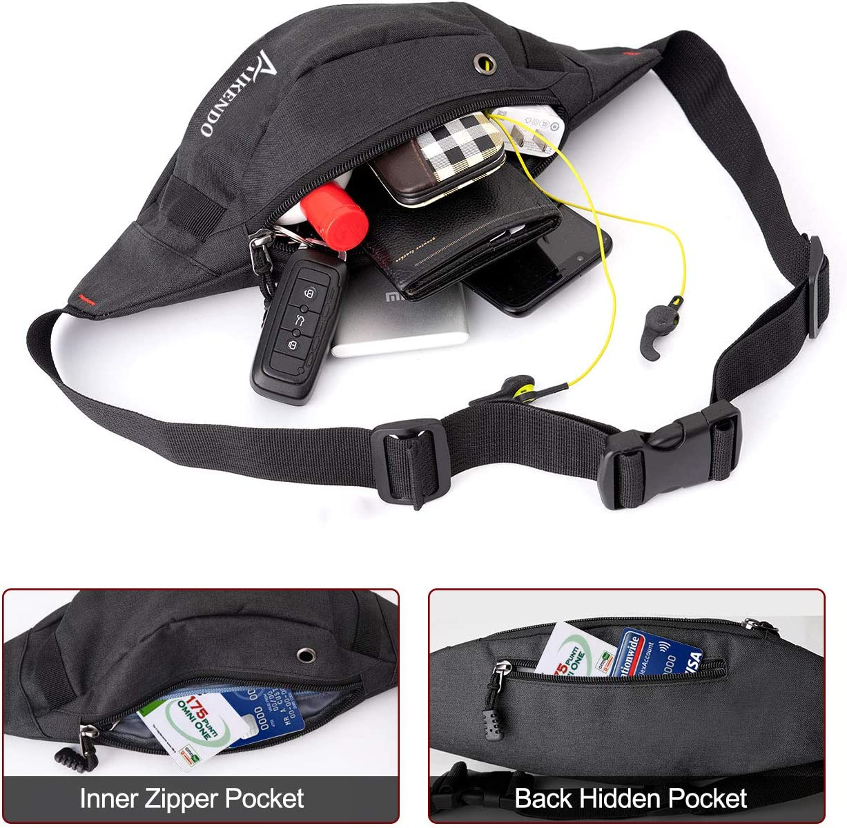 AIKENDO Fanny Pack for Men Women Easy Carry Any Phone Passport Waist Bag Pack for Travel Sports Running Hiking Cycling Wallet.