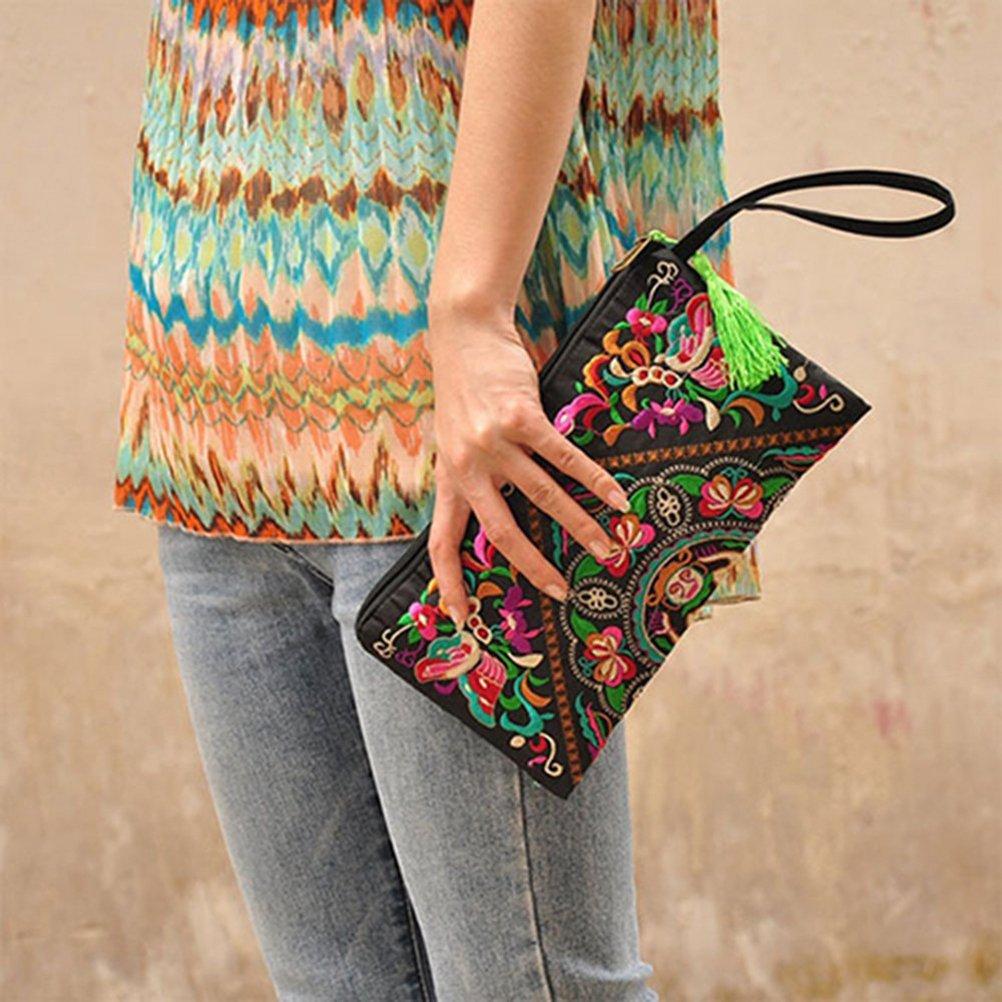 Tinksky Vintage mujer étnica monedero cartera bolsa mariposa flor teléfono: Amazon.es: Equipaje