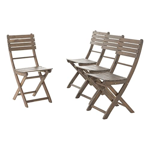 GDF Studio Vicaro Acacia Wood Outdoor Foldable Dining Chairs Set of 4 Perfect for Patio with Grey Finish