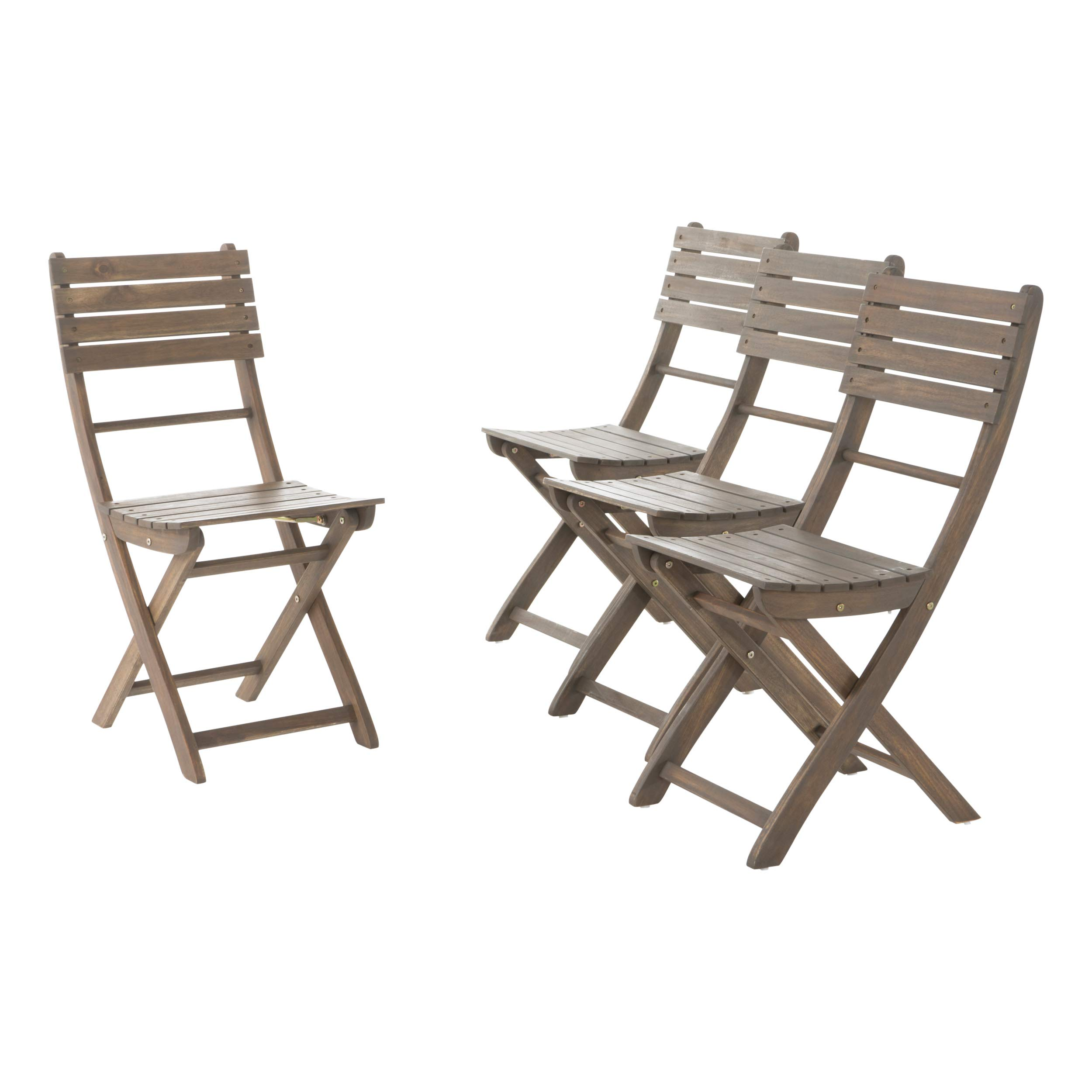 GDF Studio Vicaro | Acacia Wood Outdoor Foldable Dining Chairs | Set of 4 | Perfect for Patio | with Grey Finish