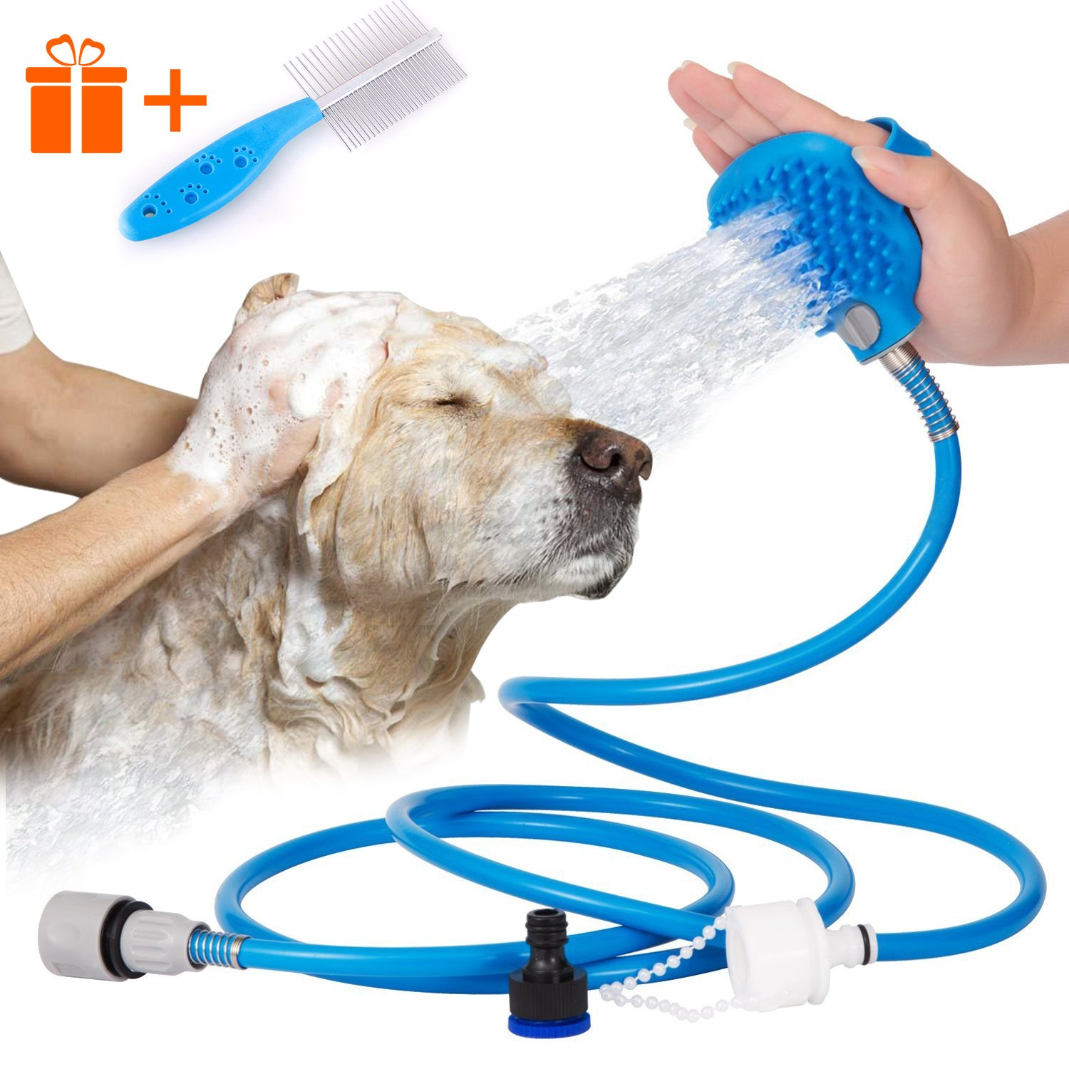 Doommy Pet Bathing Tool,Pet Shower Sprayer for Dogs Cats and Small & Medium Pets,Bathing Massage Combo with Grooming Brush and 2 Faucet Adapters, 7.5 ft Blue Hose for Indoor and Outdoor Using
