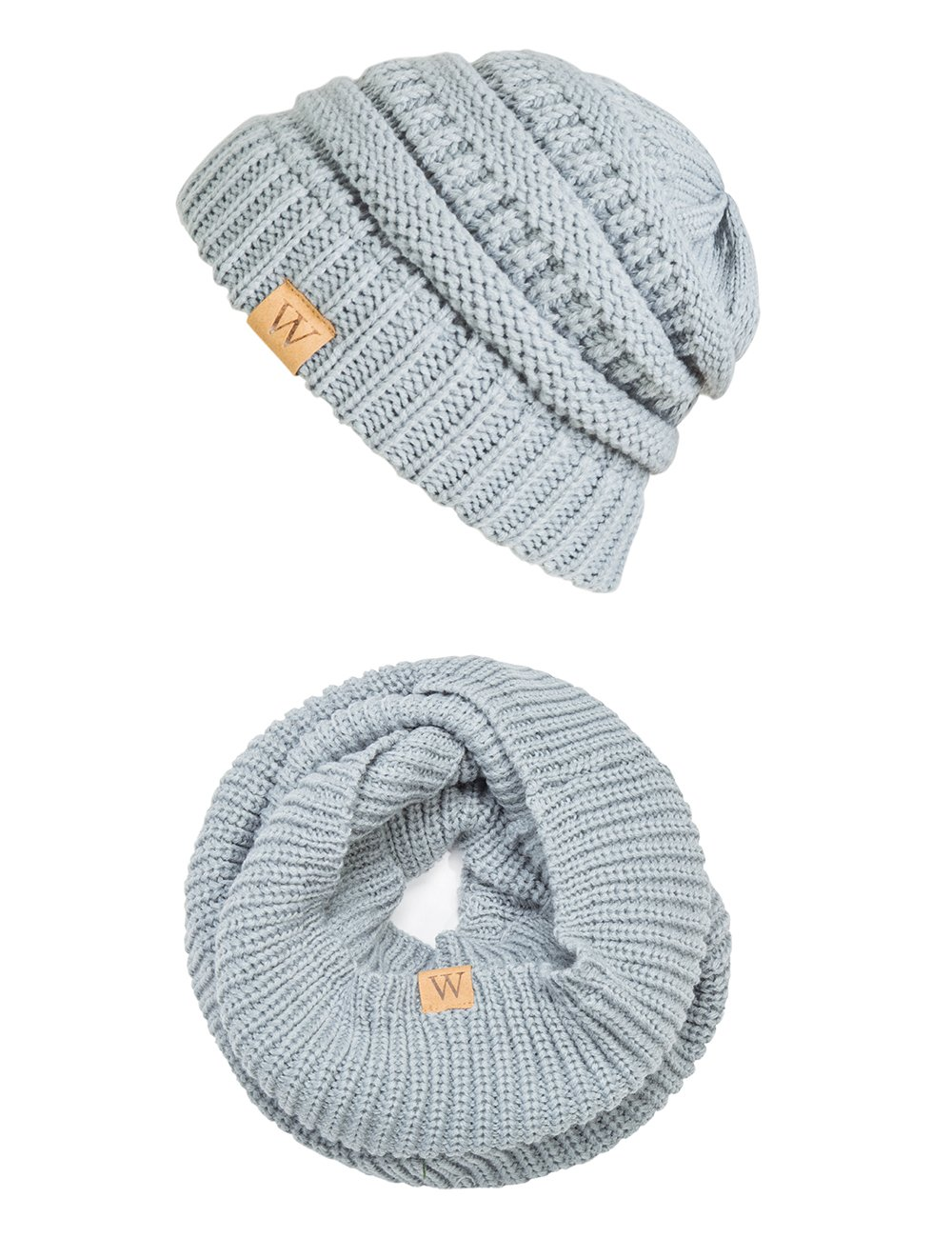 EVRFELAN Winter Warm Knitted Infinity Scarf and Beanie Hat Set (Gray)