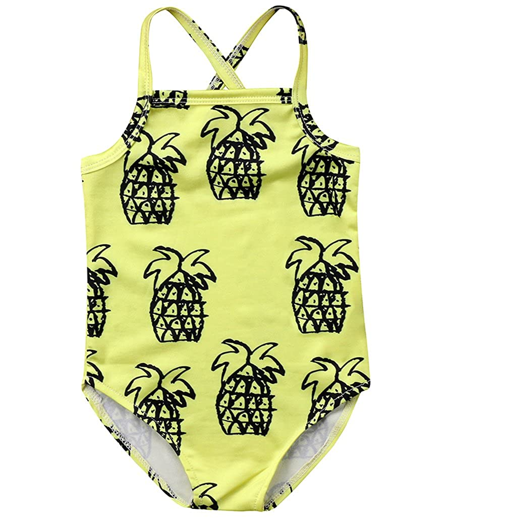 Kids Baby Girls Cute Pineapple Halter One Piece Swimsuit Bikini Swimwear