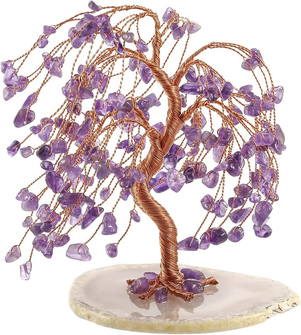 CrystalTears Natural Amethyst Crystal Money Tree Feng Shui Crytal Ornament Figurine with Agate Slice Geode Base for Wealth Good Luck Home Decor 5.5-6.3