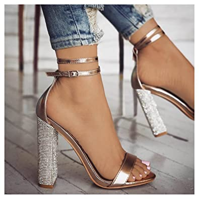 6d26cccabd762 Amazon.com | Women High Heel Sandals Party Dressy Rhinestone Chunky Block  Glitter Heel Ankle Strap Summer Shoes | Heeled Sandals