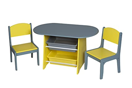 Amazoncom Giftmark Childrens Oval Table With2 Chairs And Storage