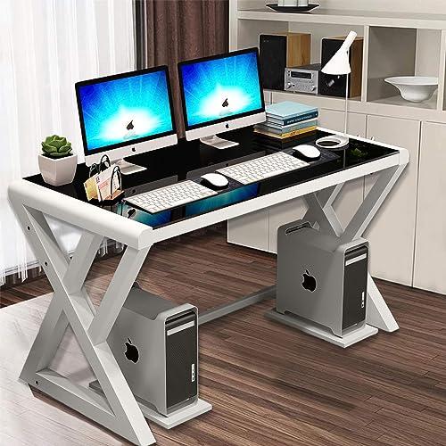 Computer Desk Glass Top Metal Frame