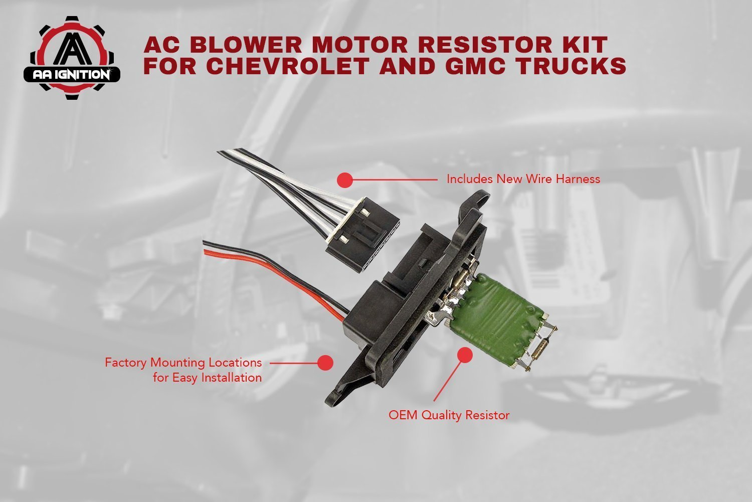 Ac Blower Motor Resistor Kit With Harness Replaces 2002 Gmc Sierra Ip Main Fuse Box Diagram 973 405 15 81086 22807123 Fits Chevy Silverado Tahoe Suburban Avalanche Yukon Cadillac Escalade Hvac Fan Automotive