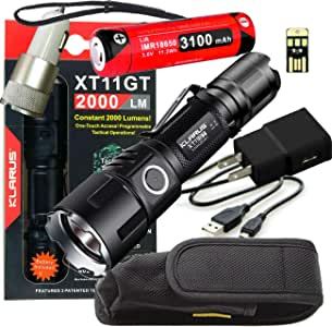 Klarus Upgraded XT11GT 2000 Lumens Super Bundle with LED Rechargeable Tactical Flashlight, 18650 Battery, USB Cable, Lanyard, Holster, Pocket Clip, Car Adapter, Wall Adapter, and USB Mini Light