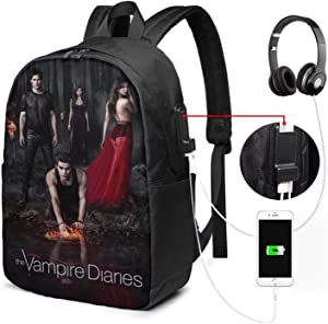 BUSAMEDO The Vampire Diaries Custom USB Backpack Unisex Student Adult Classic Laptop Bags Bookbag for School Office Travel 17 Inches