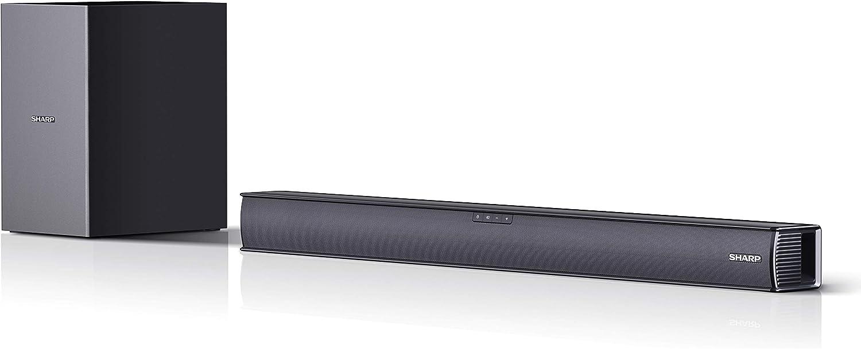 SHARP HT-SBW182 Soundbar 2.1 Slim con Subwoofer inalámbrico, Bluetooth con HDMI ARC/CEC, 160W, Audio óptico Digital, AUX, 74 cm, Color Negro