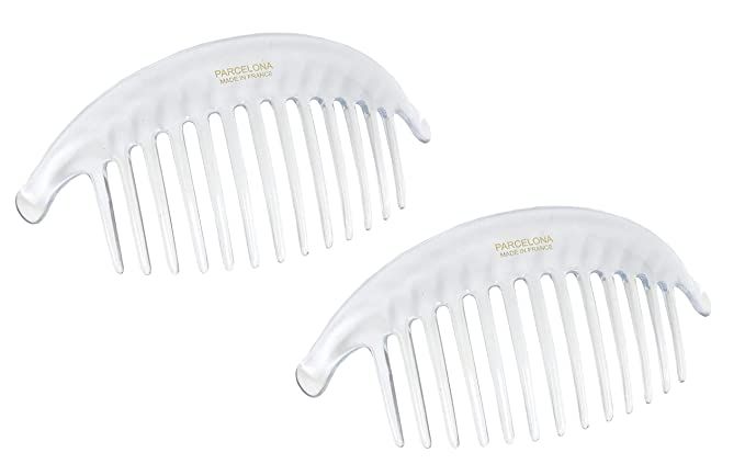 Parcelona French Alice Large Set of 2 Clear 13 Teeth Celluloid Side Hair Combs