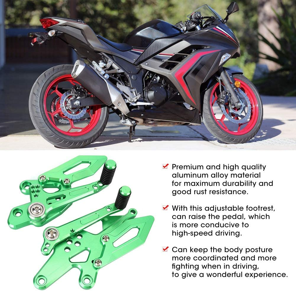 Green Qiilu Motorcycle Footrest Pedal,CNC Adjustable Rearset Footpeg Kit Fit for Auto 300 250 z300