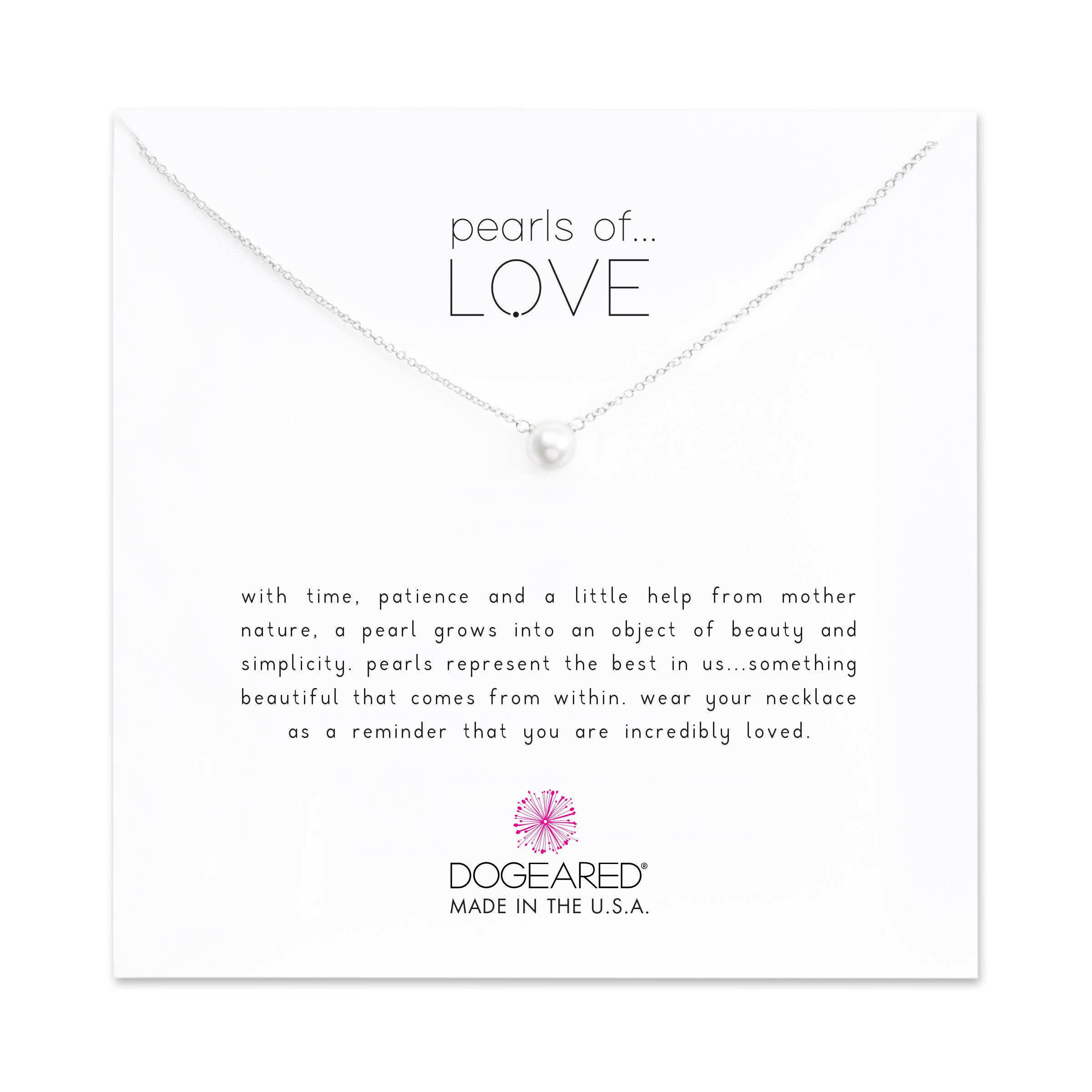 Dogeared Pearls of Love Freshwater Cultured Sterling Silver 16'' Boxed Necklace,5.5-6.0 mm