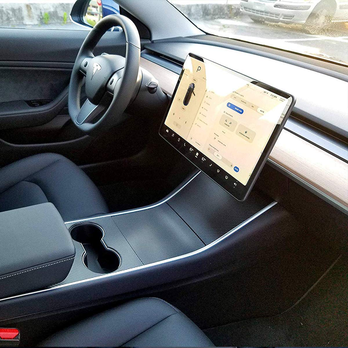AHSN Tesla Model 3 Center Console Leather Wrap Kit Matte Black Leather Sticker for Tesla Model 3 Console Protector Accessories