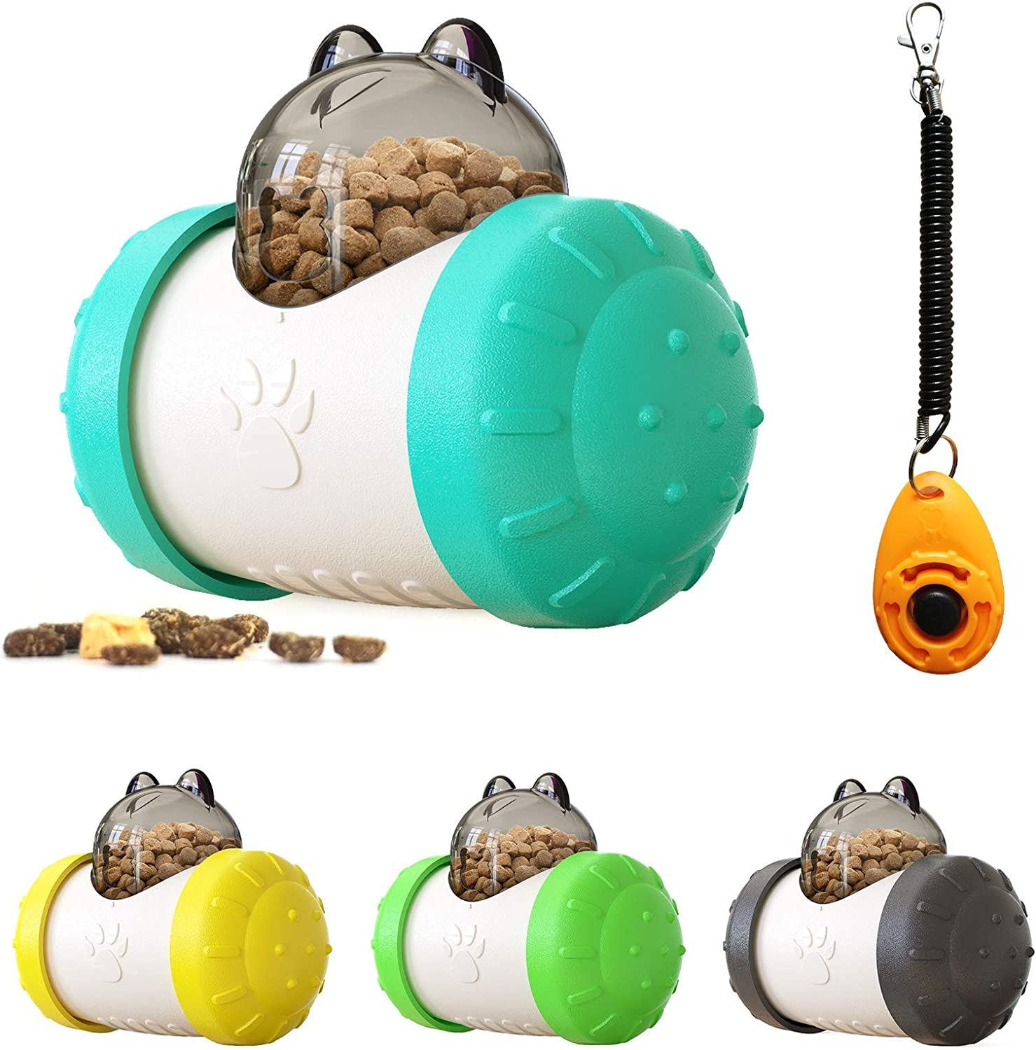 Dog Mind stimulating Toys,Cat Enrichment Bowl,Dog Mind stimulating Toys Large Breed with Friendly ABS Material,Swing Bear Food Dispensing Dog Toy Turquoise +White