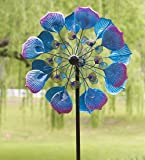 Blue and Magenta Peacock Metal Wind Spinner Metal Garden Art 24 dia. x 9½ D x 75 H Inches
