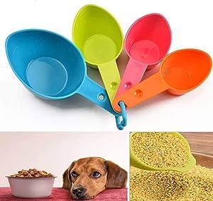 OrgrimmarSet of Four Pet Food Scoop, Measuring Cups, Plastic Pet Food Scoop for Dog, Cat and Bird Food