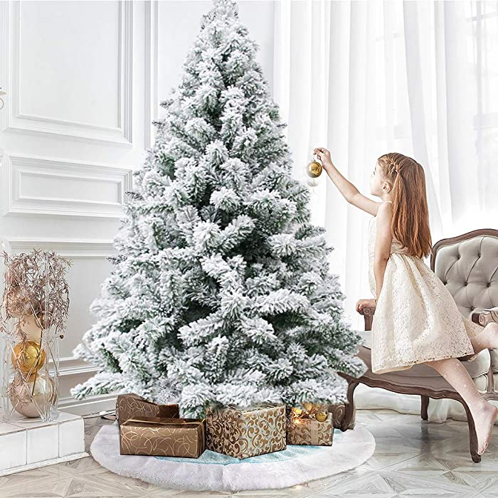 Artificial Christmas Tree - 6FT Flocked Decoration Fake Christmas Tree, Easy to Assemble and Store, for Small Spaces Apartment Fireplace Party Home Office Store Classroom Holiday Decor (White)