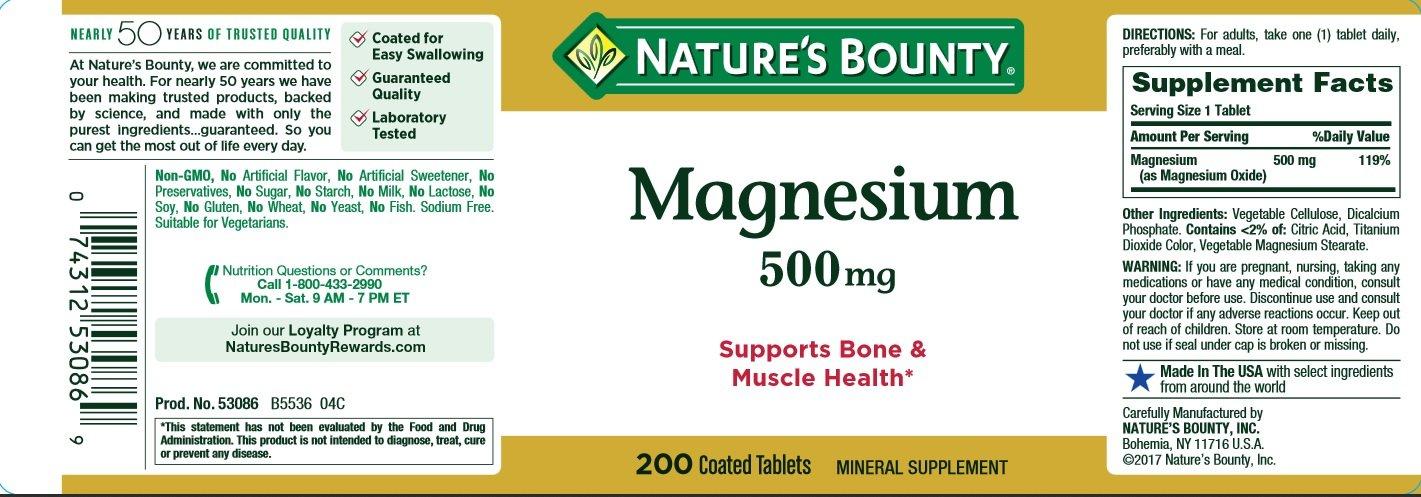 Natures Bounty - Magnesio máximo del magnesio 500 de la fuerza. - 200Tabletas: Amazon.es: Salud y cuidado personal