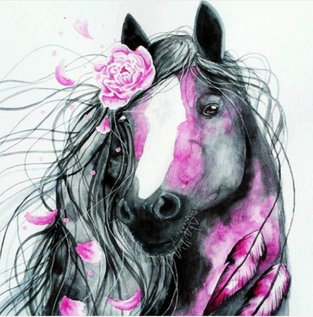 5d famoso cuadro caballo animal paisaje diamante pintura con flores rosadas Modern Home Wall Art 40 * 50cm