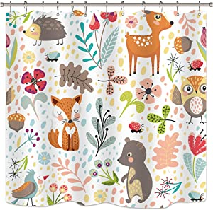 Riyidecor Children's Woodland Shower Curtain Forest Animals Adorable Girls Cute Cartoon Baby Funny Plants Colorful Weeds Kids Waterproof Fabric Bathroom Decor Set 72x72 Inch 12 Pack Plastic Hooks