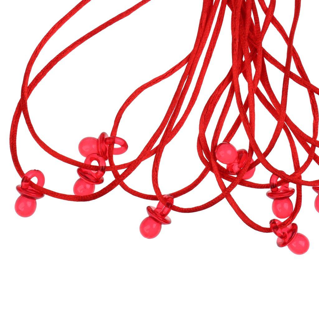 Rouge D DOLITY 20 pcs Collier Mini Sucettes Aimable Parfait avec Cha/îne en Nylon pour Bapt/ême Douche de B/éb/é