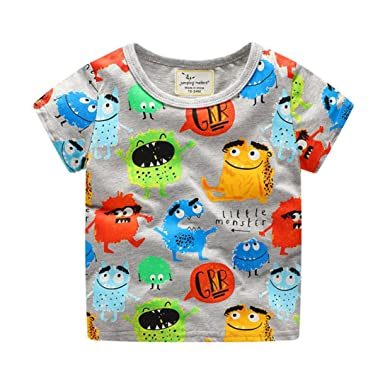82c1c11b KaloryWee Clearance Sale Unisex Kids Boys Tops Pullover Sweater Blouse  colorful Cartoon Monsters Printed Short Sleeve