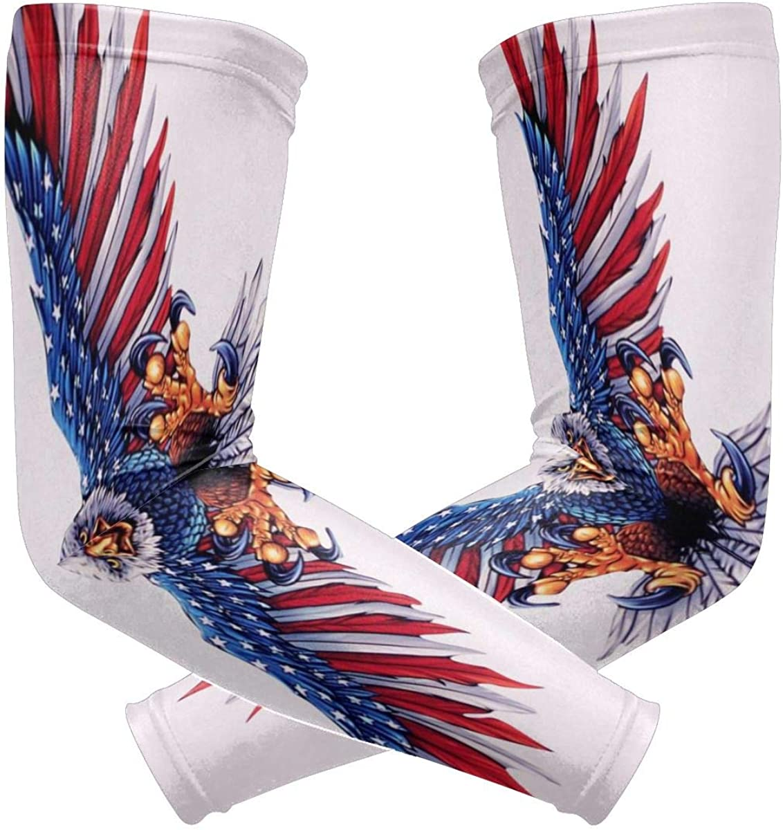 American Flag Eagle Cooling Arm Sleeves Cover Uv Sun Protection for Men Women Arm Warmer Sleeves 1 Pair