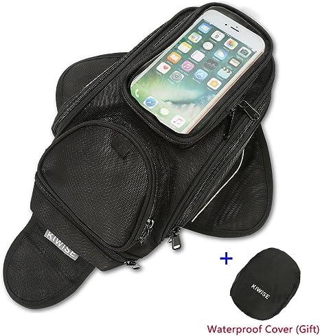 LOY Magnetic Motorcycle Tank Bag Waterproof Gas Oil Fuel Tank Bag with Transparent PVC Pocket for Mobile Phones Motorbike Saddle Tank Bag