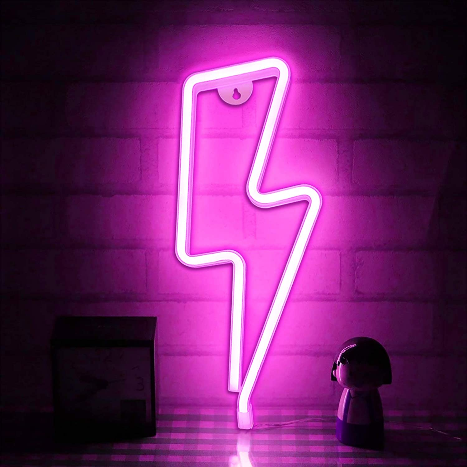 TURNMEON Pink Lightting Bolt Light Neon Lights Signs for Wall Decor, Usb or Battery Led Light up Signs for Bedroom Birthday Party Living Room Home Indoor Christmas Valentines Decoration(Lighting Bolt)