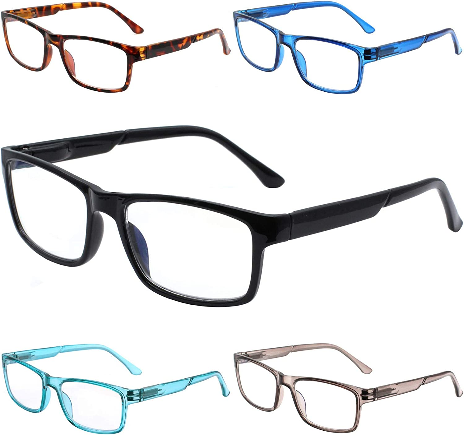 SIGVAN 5 Pack Blue Light Blocking Reading Glasses for Women,Computer Readers Spring Hinge Fashion Anti blue Eyeglasses