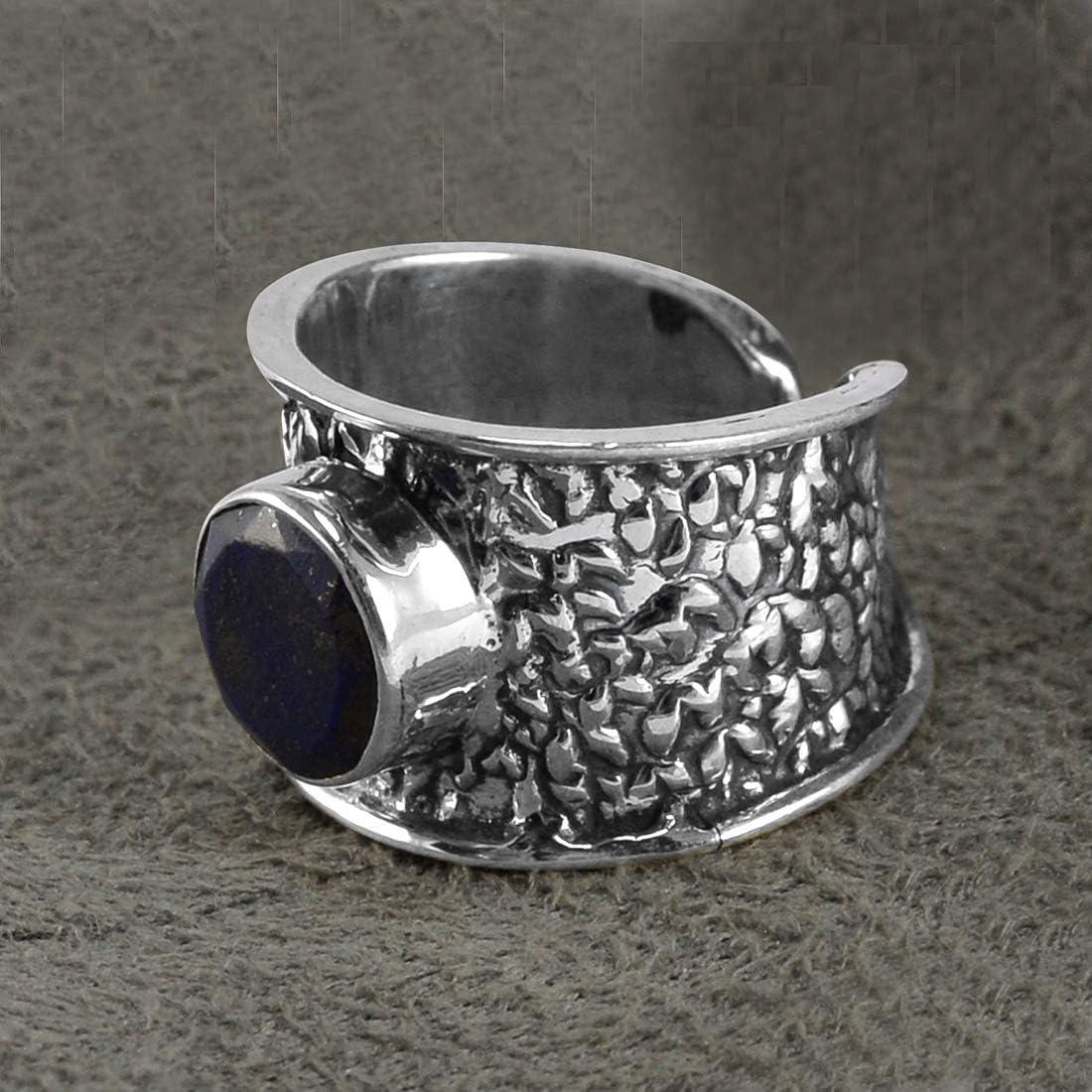 Saamarth Impex Lapis Lazuli 925 Sterling Silver Ring Sz 7.5 Adjustable PG-155753