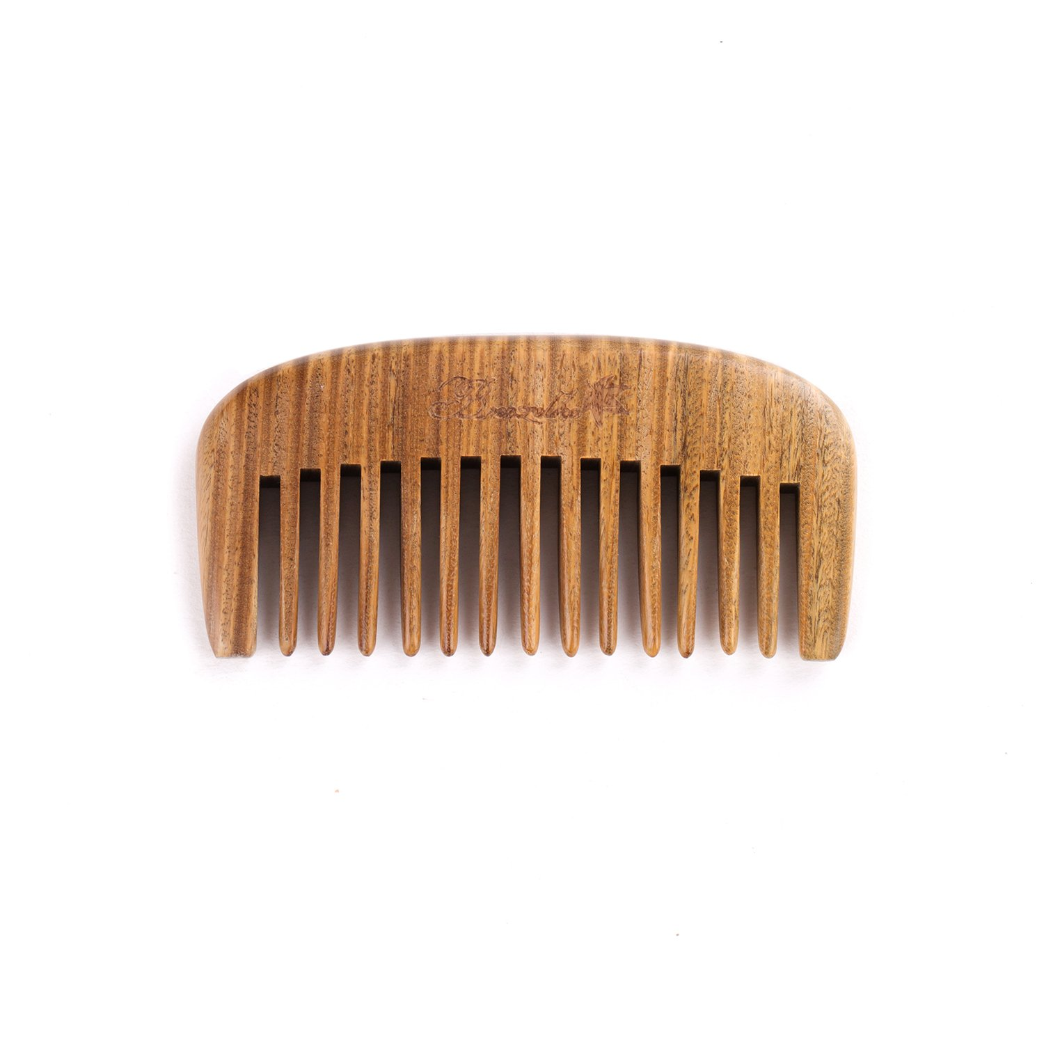 Breezelike Hair and Beard Comb - Wide Tooth Sandalwood Comb - No Static Pocket Size Wood Comb for Men, Women and Kids
