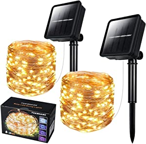 2 Pack Solar String Light Outdoor , 66 Feet 200 LED Outdoor Waterproof Copper Wire 8 Modes Fairy Lights for Garden, Patio,Yard, Christmas, Home, Wedding, Party Decoration (Warm White)